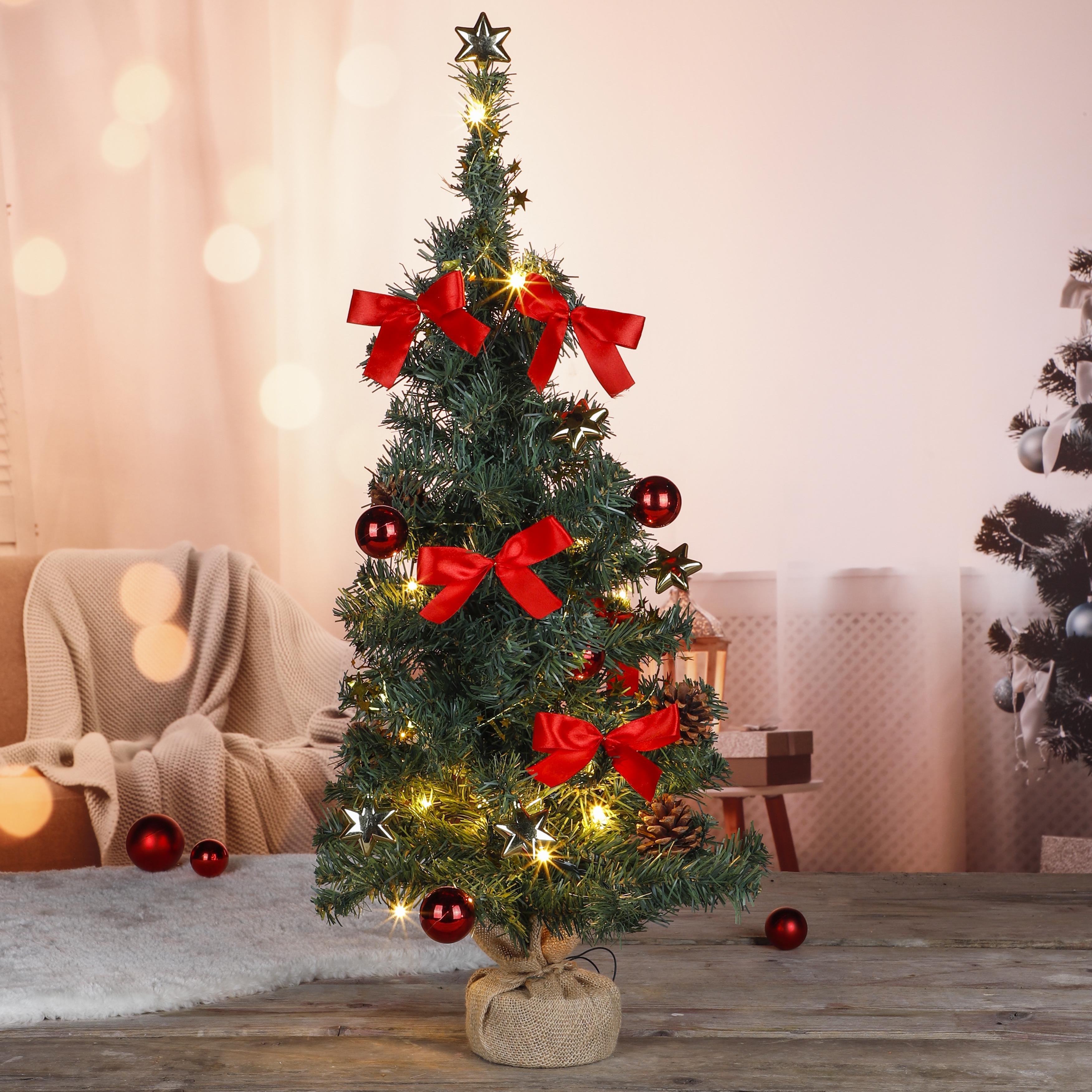 20 LED Weihnachtsbaum Tannenbaum Christbaum Baum geschmückt rot 75 cm
